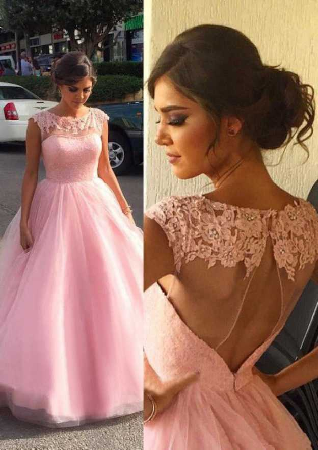 Ball Gown Scoop Neck Sleeveless Long/Floor-Length Organza Prom Dress With Appliqued