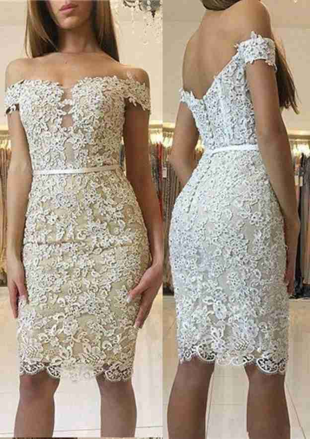 Sheath/Column Off-The-Shoulder Sleeveless Knee-Length Lace Homecoming Dress