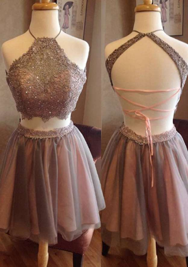 A-Line/Princess Scalloped Neck Sleeveless Short/Mini Tulle Homecoming Dress With Lace