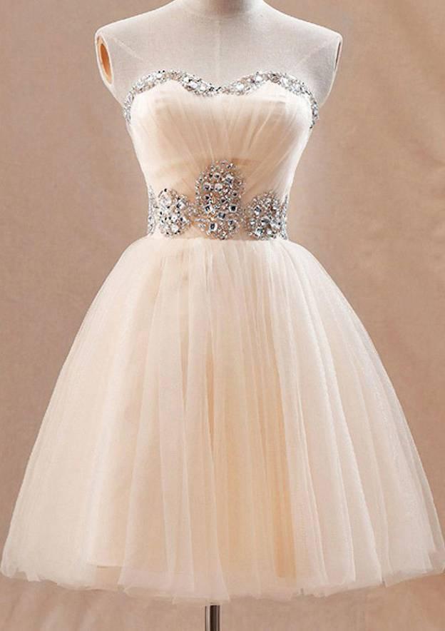 A-Line/Princess Sweetheart Sleeveless Short/Mini Tulle Homecoming Dress With Rhinestone