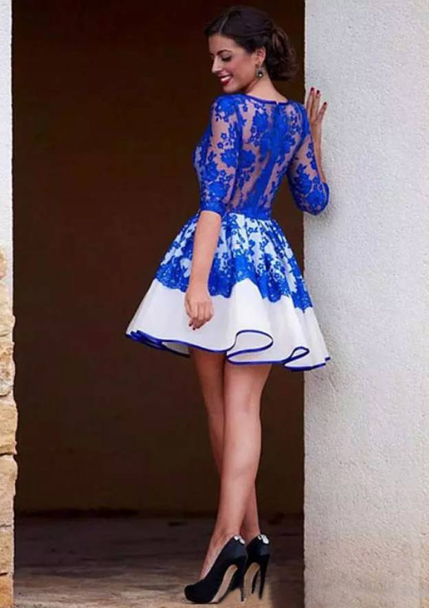 A-Line/Princess Scoop Neck 3/4 Sleeve Short/Mini Lace Homecoming Dress