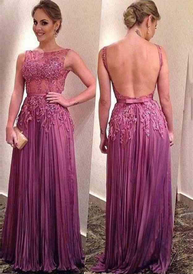 A-Line/Princess Bateau Sleeveless Long/Floor-Length Chiffon Prom Dress With Appliqued Pleated