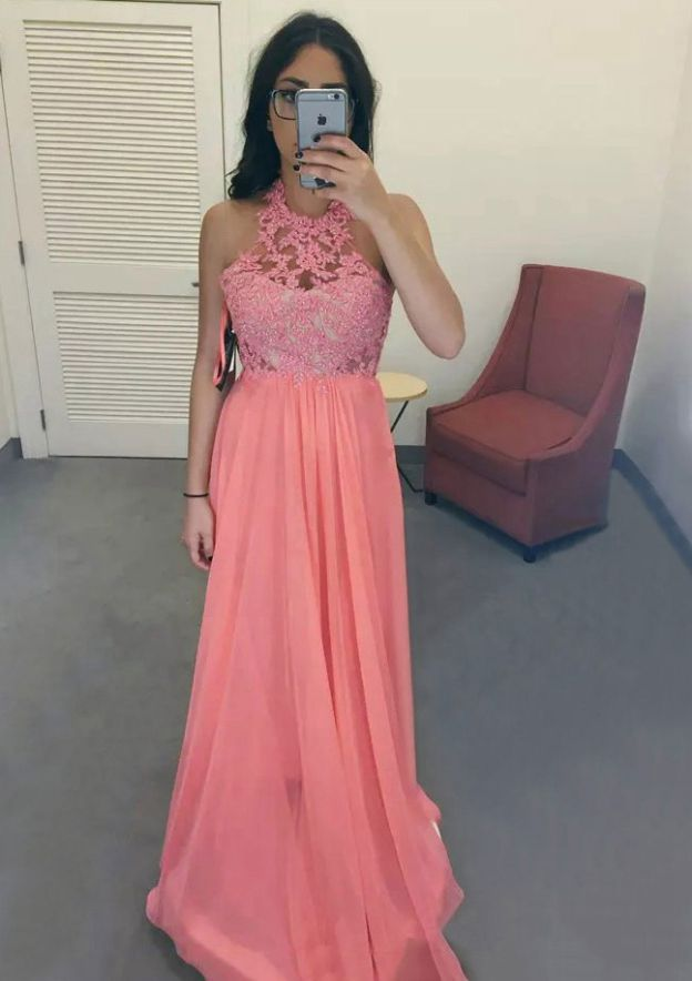 A-Line/Princess Scoop Neck Sleeveless Long/Floor-Length Chiffon Prom Dress With Appliqued