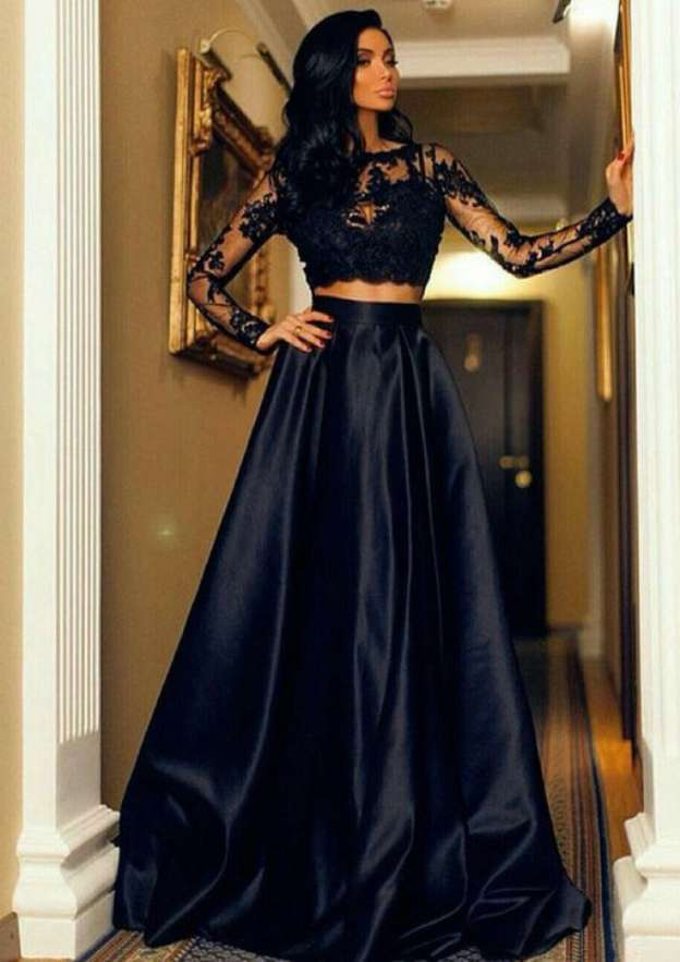 Ball Gown Bateau Full/Long Sleeve Sweep Train Satin Prom Dress With Appliqued