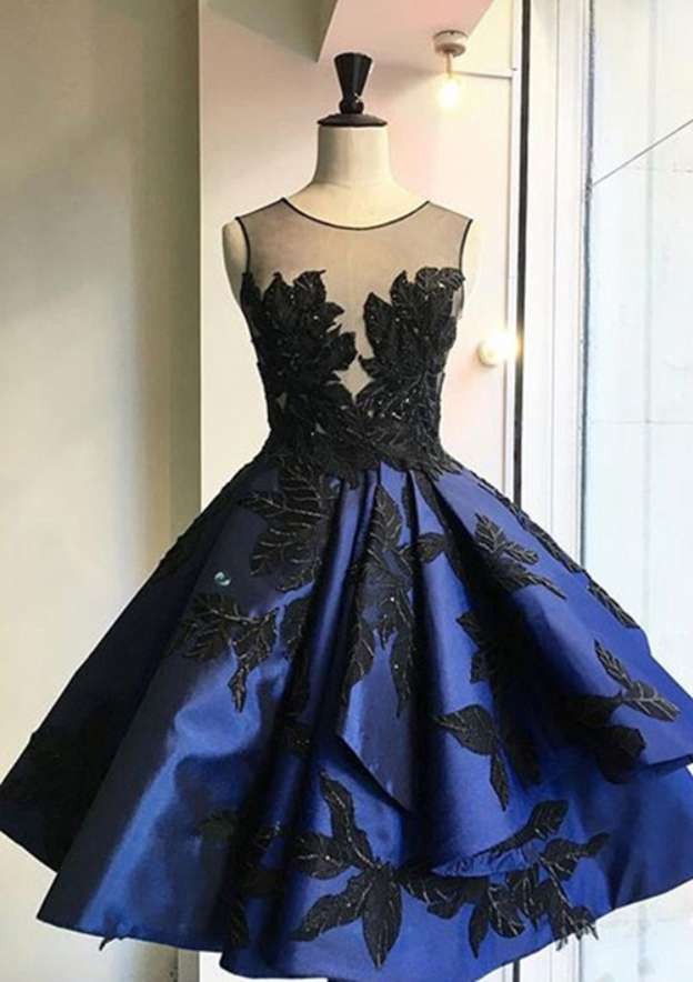 Ball Gown Scoop Neck Sleeveless Knee-Length Satin Homecoming Dress With Appliqued