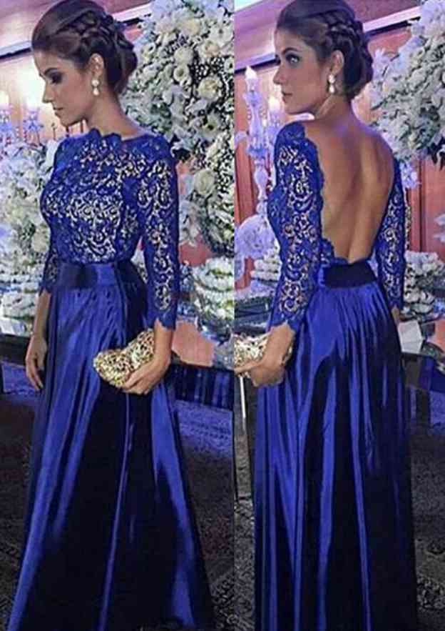 A-Line/Princess Scalloped Neck 3/4 Sleeve Long/Floor-Length Charmeuse Prom Dress With Lace
