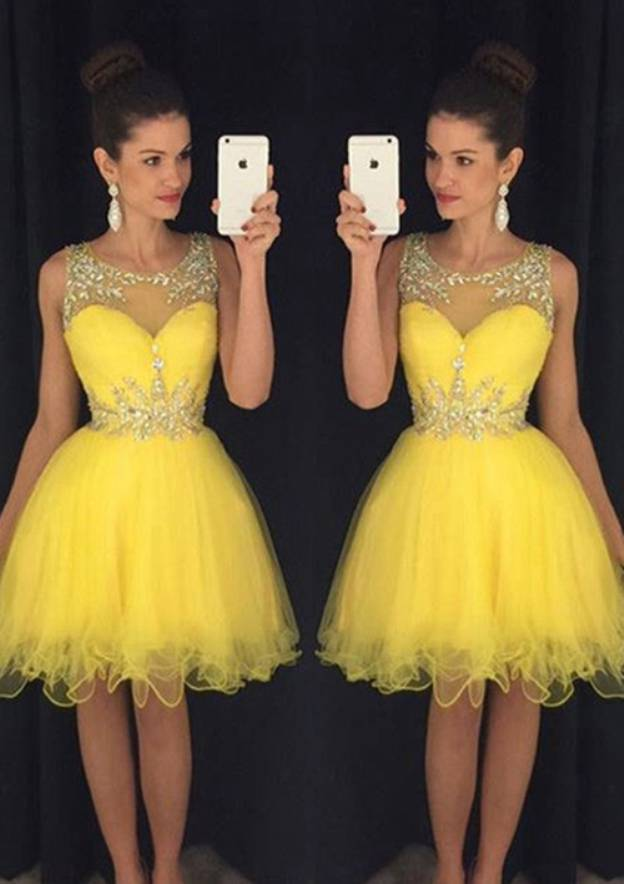 A-Line/Princess Scoop Neck Sleeveless Knee-Length Organza Homecoming Dress With Beading