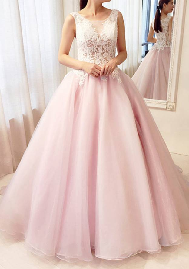 Ball Gown Bateau Sleeveless Long/Floor-Length Tulle Prom Dress With Lace