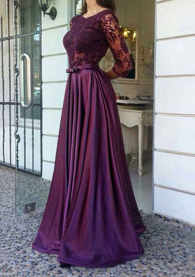 A-Line/Princess Scoop Neck 3/4 Sleeve Long/Floor-Length Charmeuse Prom Dress With Bowknot Lace