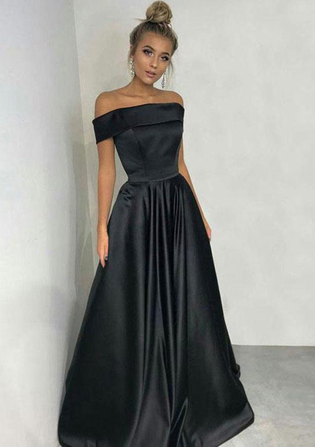 A-Line/Princess Off-The-Shoulder Short Sleeve Long/Floor-Length Satin Prom Dress