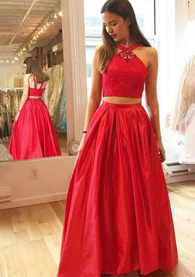 A-Line/Princess Scalloped Neck Sleeveless Long/Floor-Length Satin Prom Dress With Lace