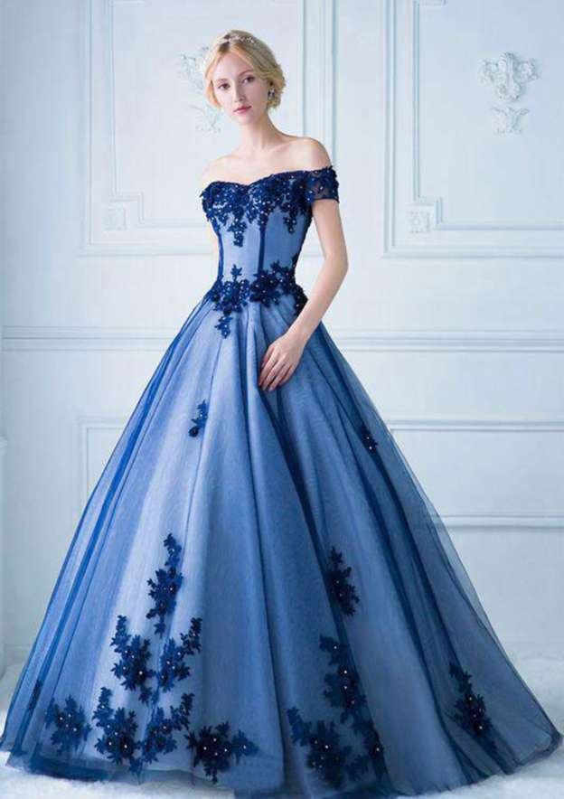 Ball Gown Off-The-Shoulder Short Sleeve Long/Floor-Length Tulle Prom Dress With Appliqued
