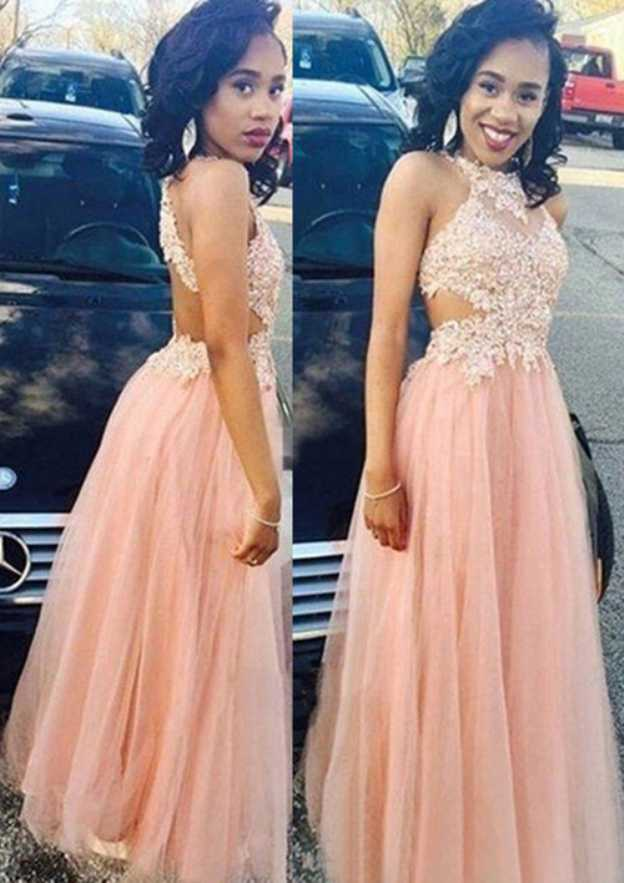 A-Line/Princess Halter Sleeveless Long/Floor-Length Tulle Prom Dress With Beading Appliqued