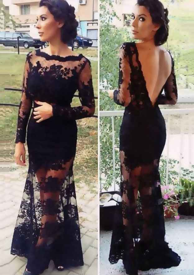 Sheath/Column Bateau Full/Long Sleeve Sweep Train Lace Prom Dress With Appliqued