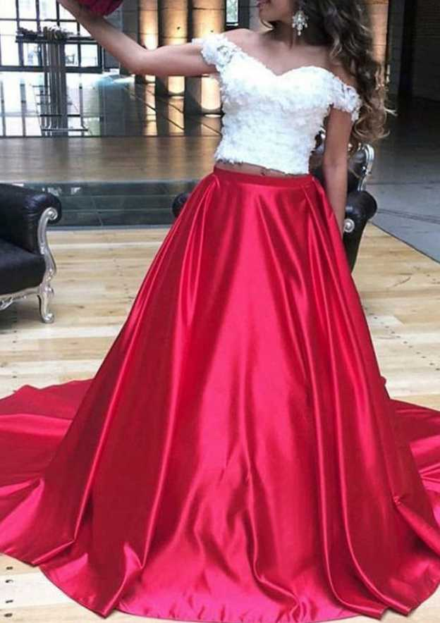 Ball Gown Off-The-Shoulder Short Sleeve Court Train Satin Prom Dress With Lace