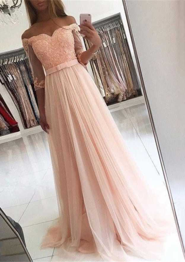 A-Line/Princess Off-The-Shoulder Half Sleeve Sweep Train Tulle Prom Dress With Appliqued Lace