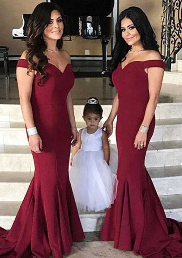 Trumpet/Mermaid Off-The-Shoulder Sleeveless Sweep Train Elastic Satin Bridesmaid Dresses