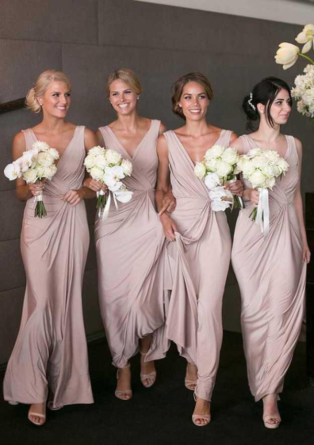 Sheath/Column V Neck Sleeveless Long/Floor-Length Charmeuse Bridesmaid Dresses With Pleated