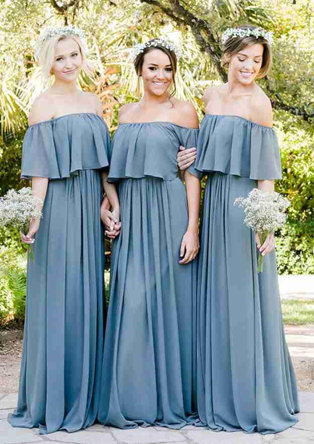 A-Line/Princess Off-The-Shoulder Short Sleeve Long/Floor-Length Chiffon Bridesmaid Dresses With Ruffles