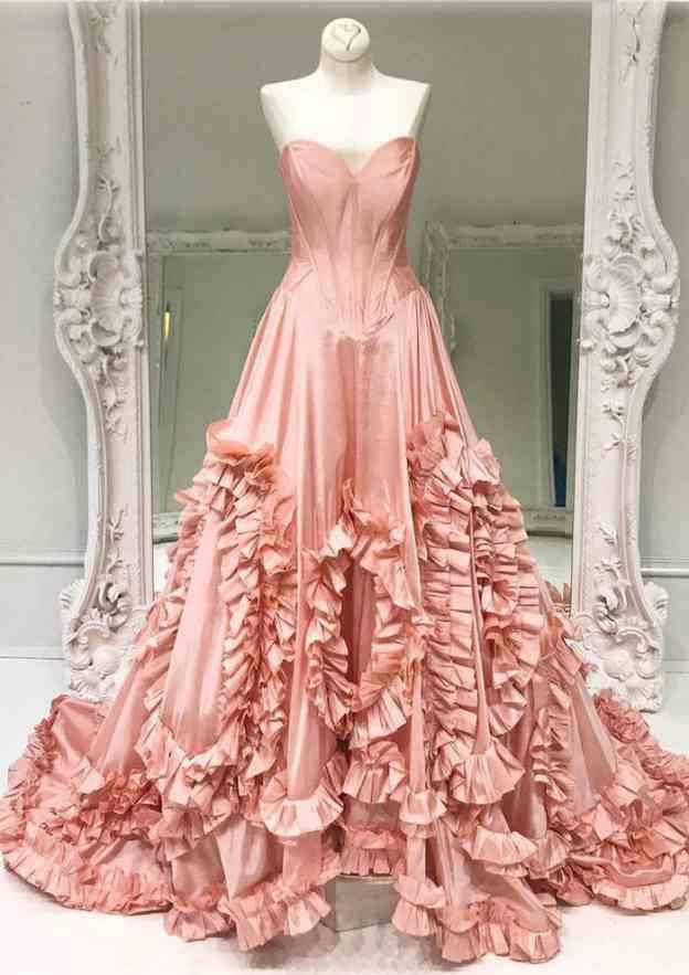 A-Line/Princess Sweetheart Sleeveless Court Train Taffeta Prom Dress With Ruffles