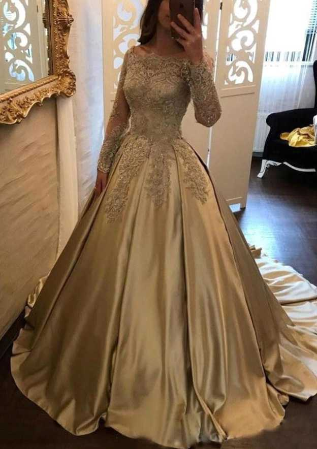 Ball Gown Off-The-Shoulder Full/Long Sleeve Court Train Satin Prom Dress With Appliqued
