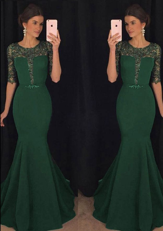 Trumpet/Mermaid Scoop Neck Half Sleeve Sweep Train Elastic Satin Prom Dress With Beading Lace