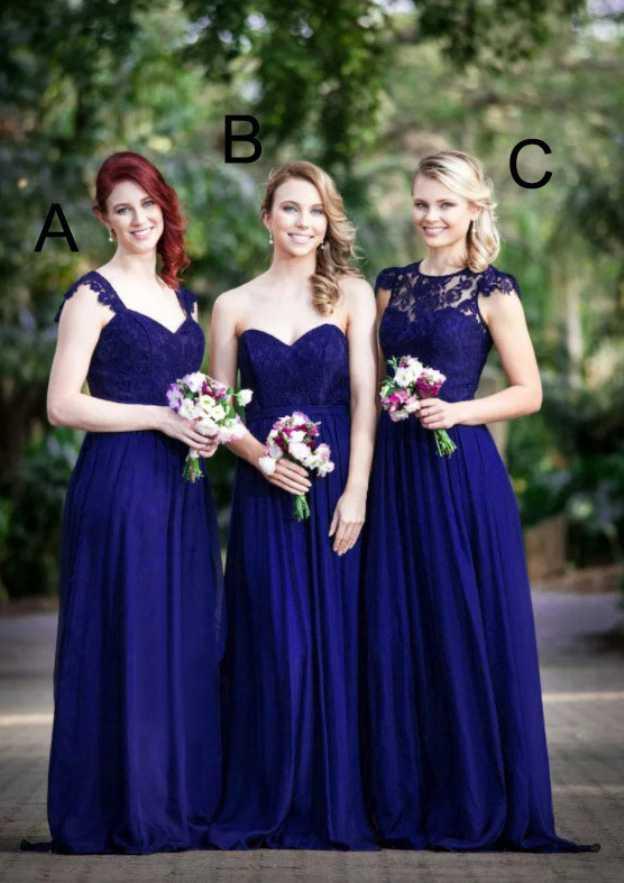 A-Line/Princess Sweetheart Sleeveless Long/Floor-Length Chiffon Bridesmaid Dresses With Lace