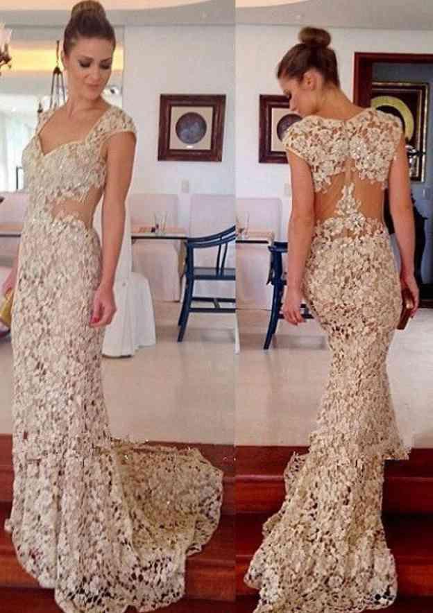 Sheath/Column Scalloped Neck Sleeveless Sweep Train Lace Prom Dress