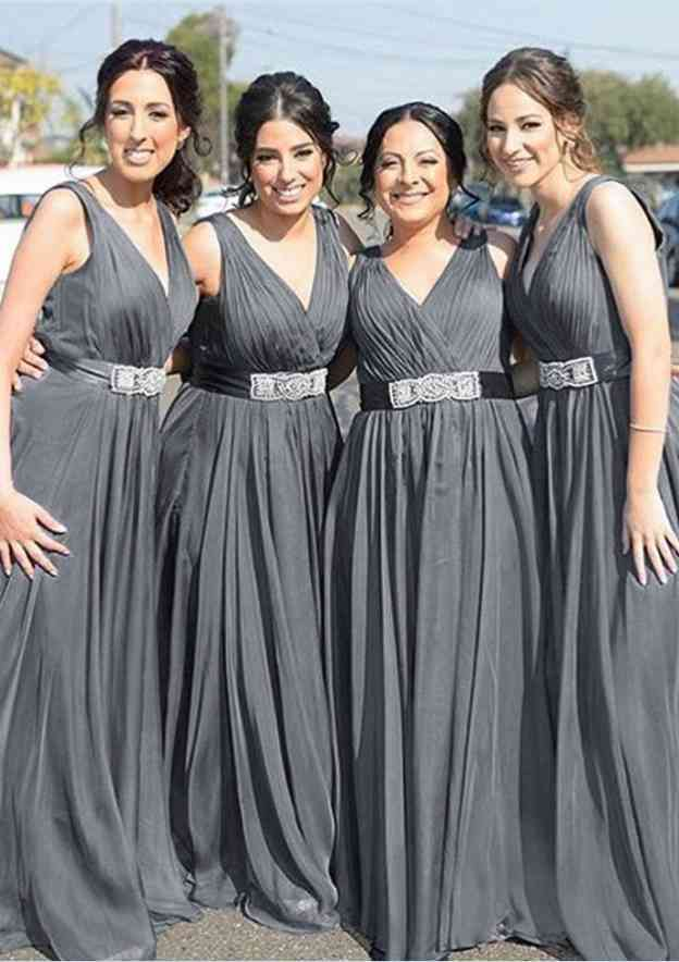 A-Line/Princess V Neck Sleeveless Long/Floor-Length Chiffon Bridesmaid Dresses With Waistband