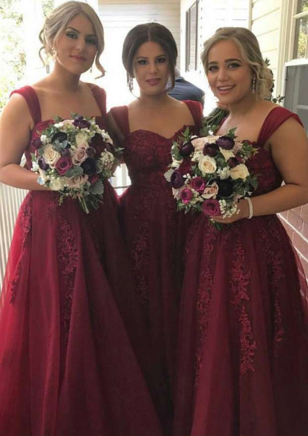 A-Line/Princess Sweetheart Sleeveless Long/Floor-Length Tulle Bridesmaid Dresses With Appliqued