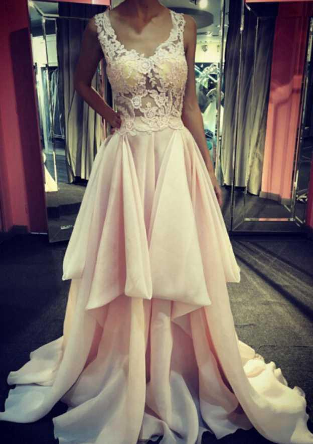 A-Line/Princess V Neck Sleeveless Court Train Chiffon Prom Dress With Lace Ruffles