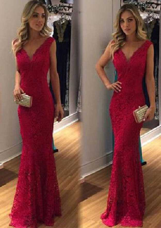 Sheath/Column V Neck Sleeveless Long/Floor-Length Lace Prom Dress