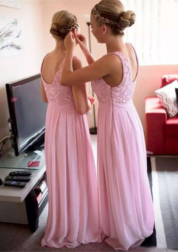 A-Line/Princess Bateau Sleeveless Long/Floor-Length Chiffon Bridesmaid Dress With Appliqued