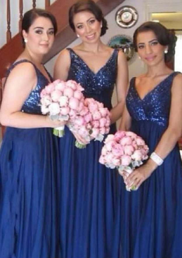 A-Line/Princess V Neck Sleeveless Long/Floor-Length Chiffon Bridesmaid Dresses With Sequins