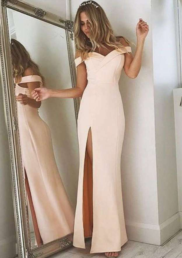 Sheath/Column Off-The-Shoulder Short Sleeve Long/Floor-Length Elastic Satin Prom Dress With Split