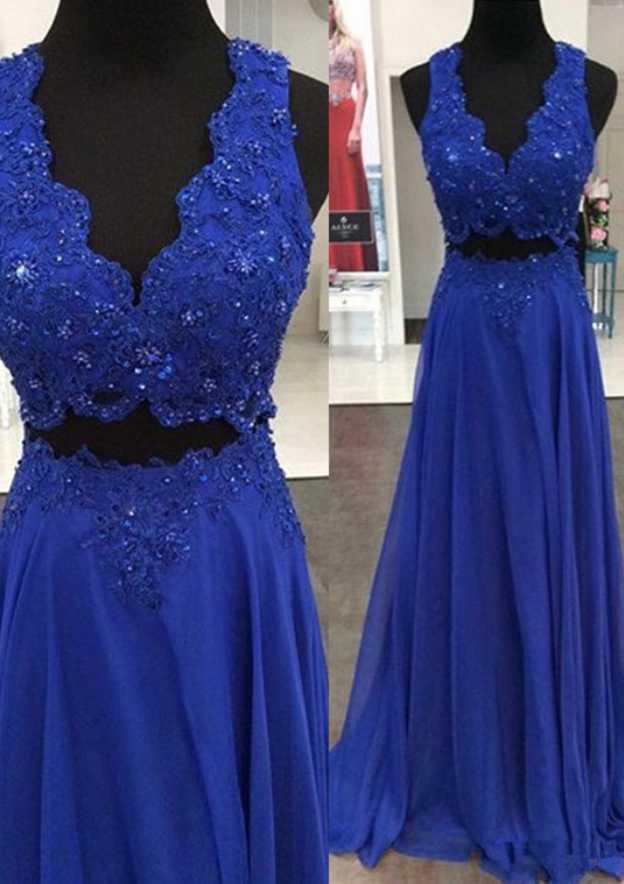 A-Line/Princess V Neck Sleeveless Sweep Train Chiffon Prom Dress With Lace Beading