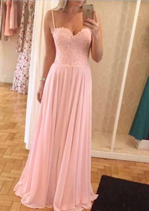 A-Line/Princess Sweetheart Sleeveless Long/Floor-Length Chiffon Prom Dress With Lace