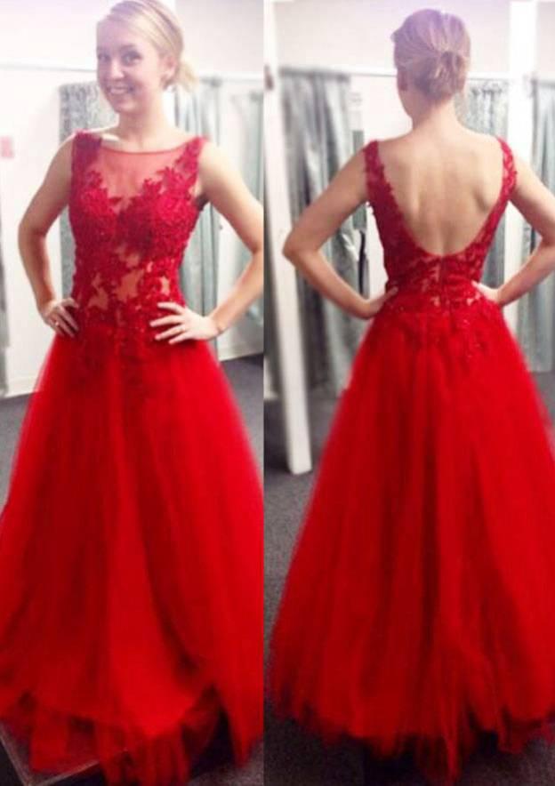 A-Line/Princess Bateau Sleeveless Sweep Train Tulle Prom Dress With Appliqued