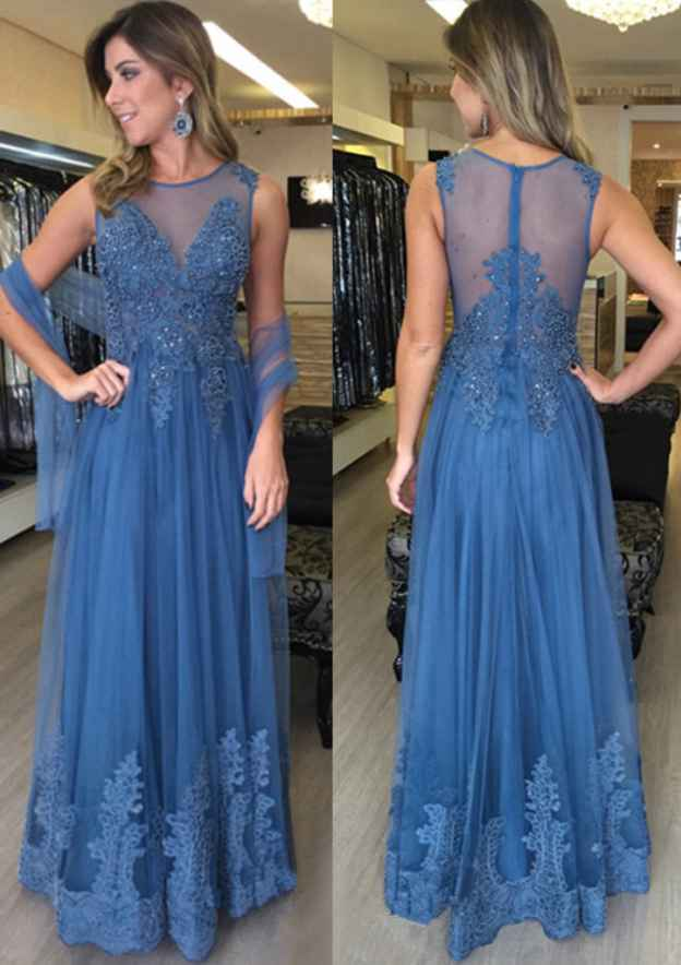 A-Line/Princess Bateau Sleeveless Long/Floor-Length Tulle Prom Dress With Beading Appliqued