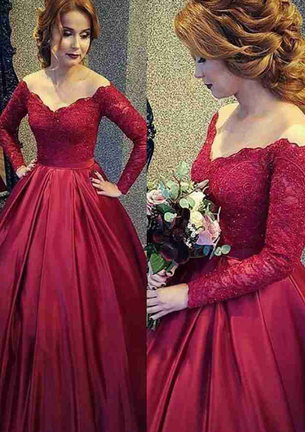 Ball Gown Off-The-Shoulder Full/Long Sleeve Long/Floor-Length Satin Prom Dress With Lace