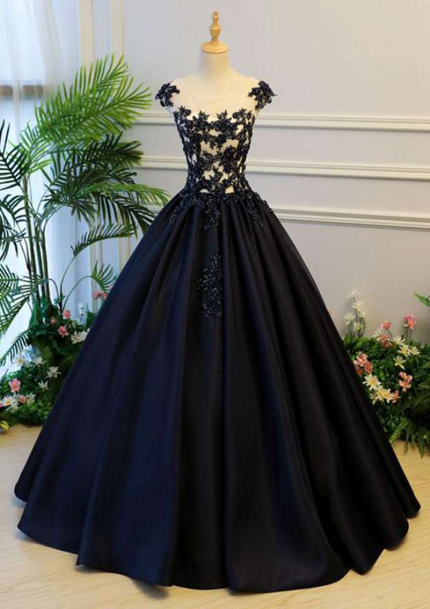 Ball Gown Bateau Sleeveless Long/Floor-Length Satin Prom Dress With Lace
