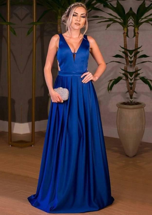 A-Line/Princess V Neck Sleeveless Long/Floor-Length Satin Prom Dress With Pleated