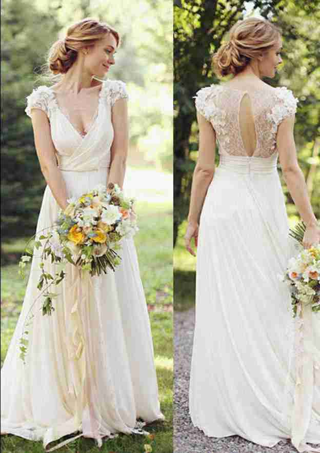 A-Line/Princess V Neck Short Sleeve Sweep Train Chiffon Wedding Dress With Appliqued Ruffles