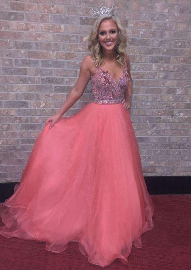 A-Line/Princess V Neck Sleeveless Sweep Train Organza Prom Dress With Beading