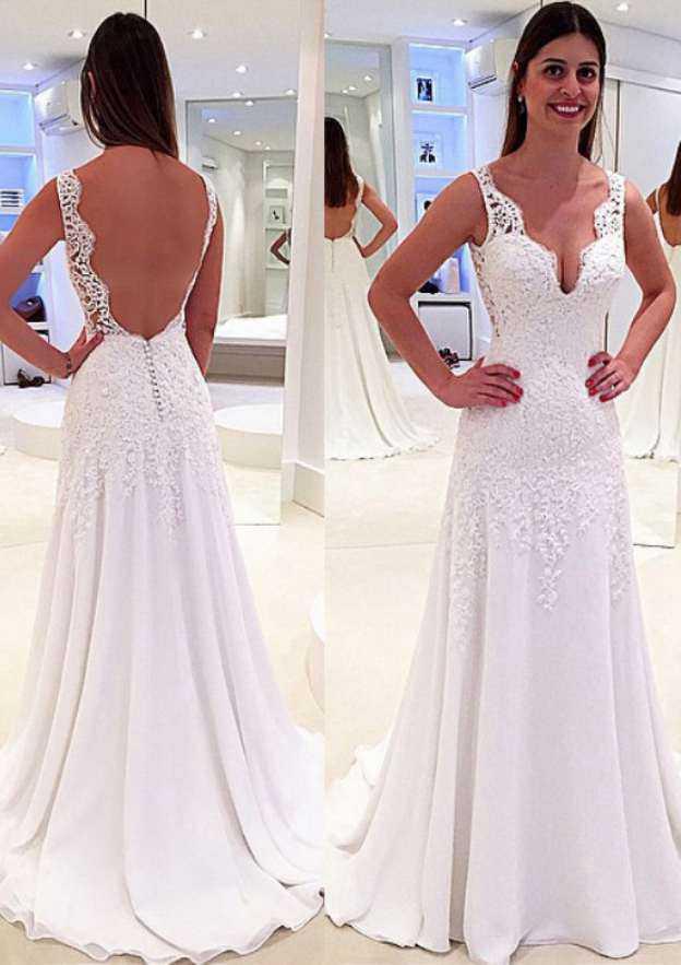 Sheath/Column Scalloped Neck Sleeveless Sweep Train Chiffon Wedding Dress
