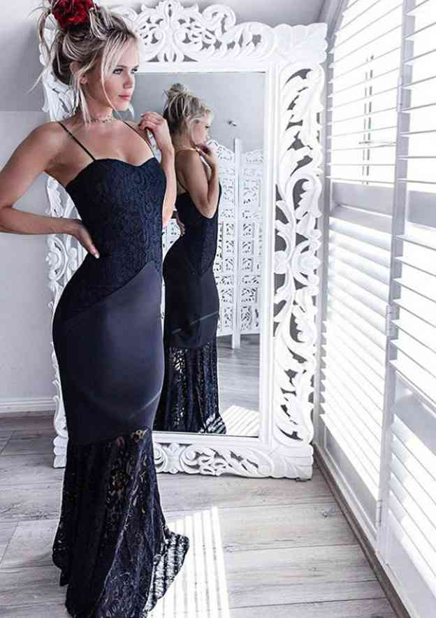 Sheath/Column Sweetheart Sleeveless Long/Floor-Length Lace Prom Dress