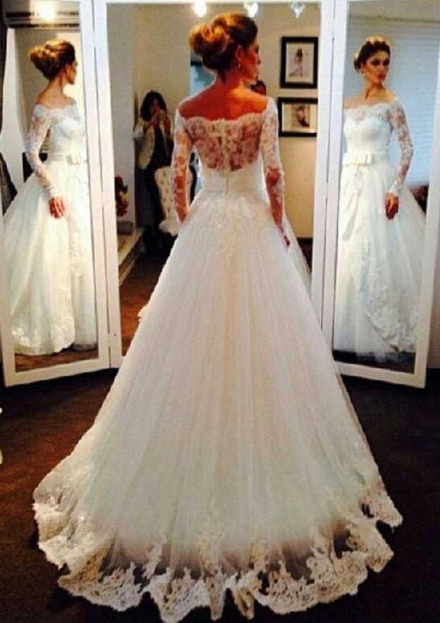 Ball Gown Off-The-Shoulder Full/Long Sleeve Sweep Train Tulle Wedding Dress With Appliqued Bowknot Lace