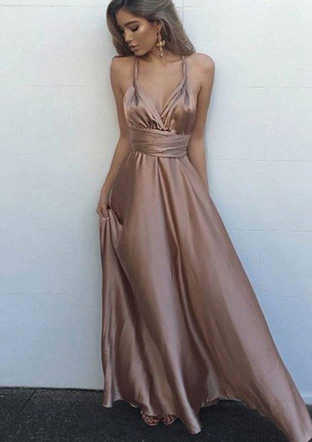 A-Line/Princess V Neck Sleeveless Long/Floor-Length Charmeuse Prom Dress