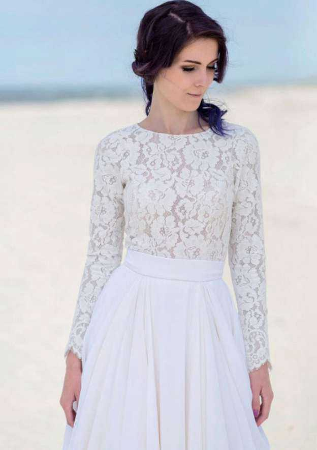 A-Line/Princess Bateau Full/Long Sleeve Sweep Train Chiffon Wedding Dress With Lace