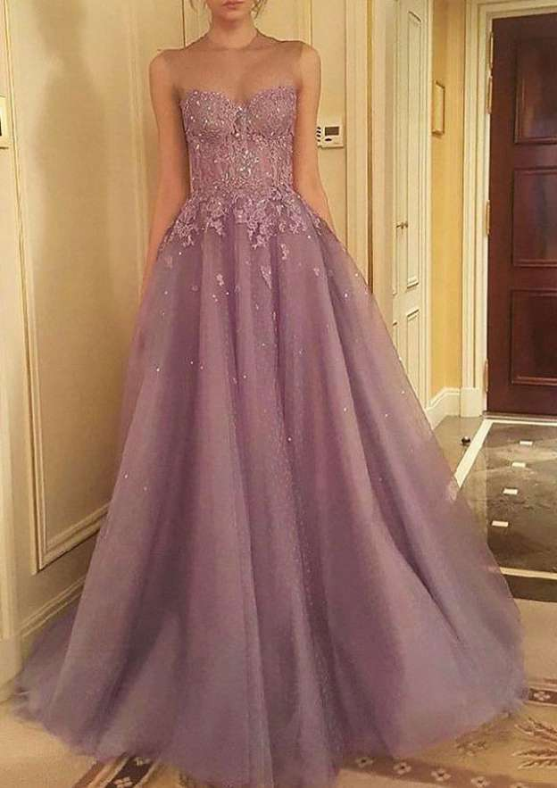 Ball Gown Scoop Neck Sleeveless Court Train Tulle Prom Dress With Lace